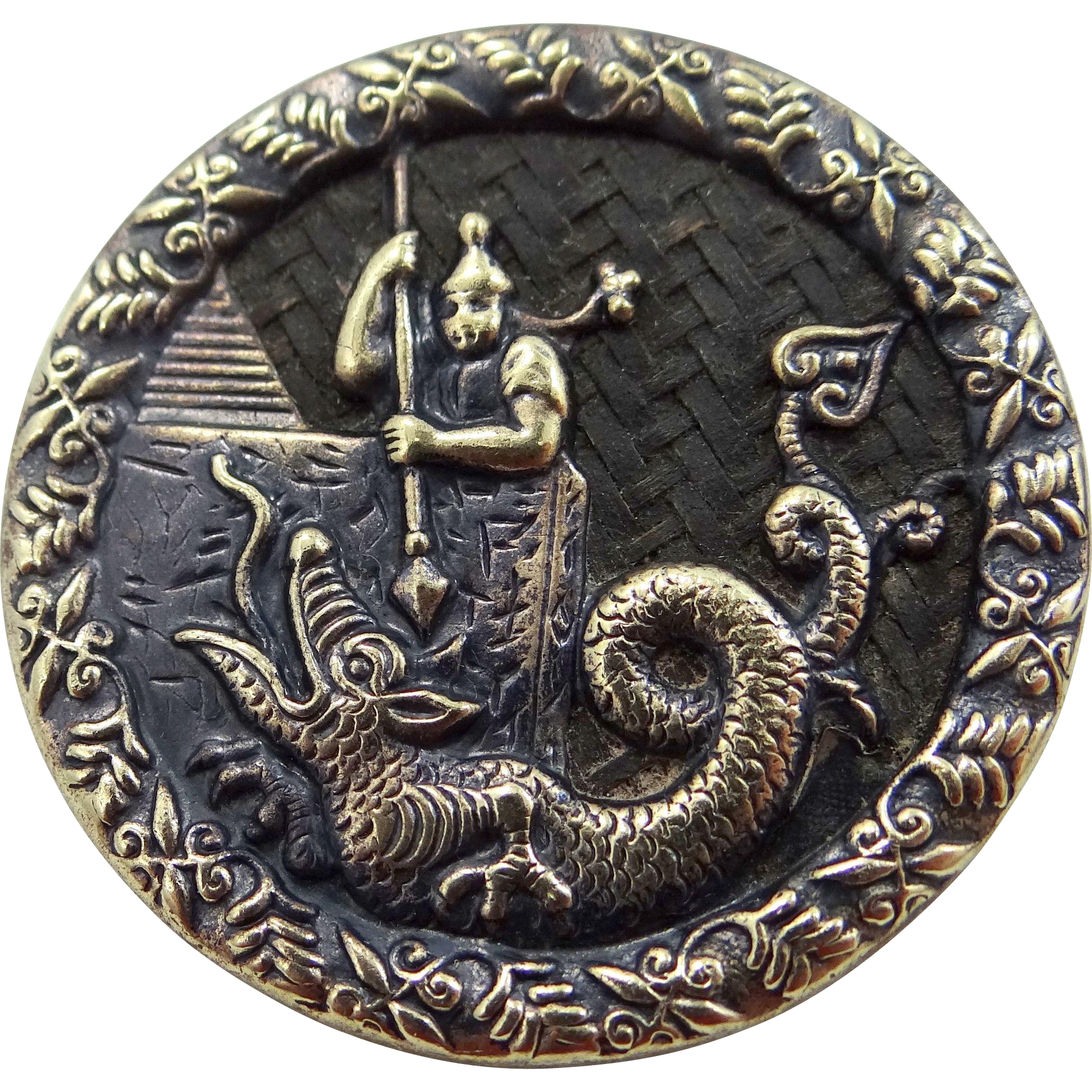 Victorian Dragon Serpent & Soldier Clothing Button