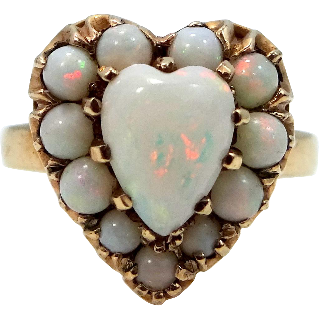 Unusual 10k Gold Opals in a Heart Ring