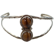 Robert Bencenti Navajo Sterling Silver and Tiger Eye Cuff Bracelet