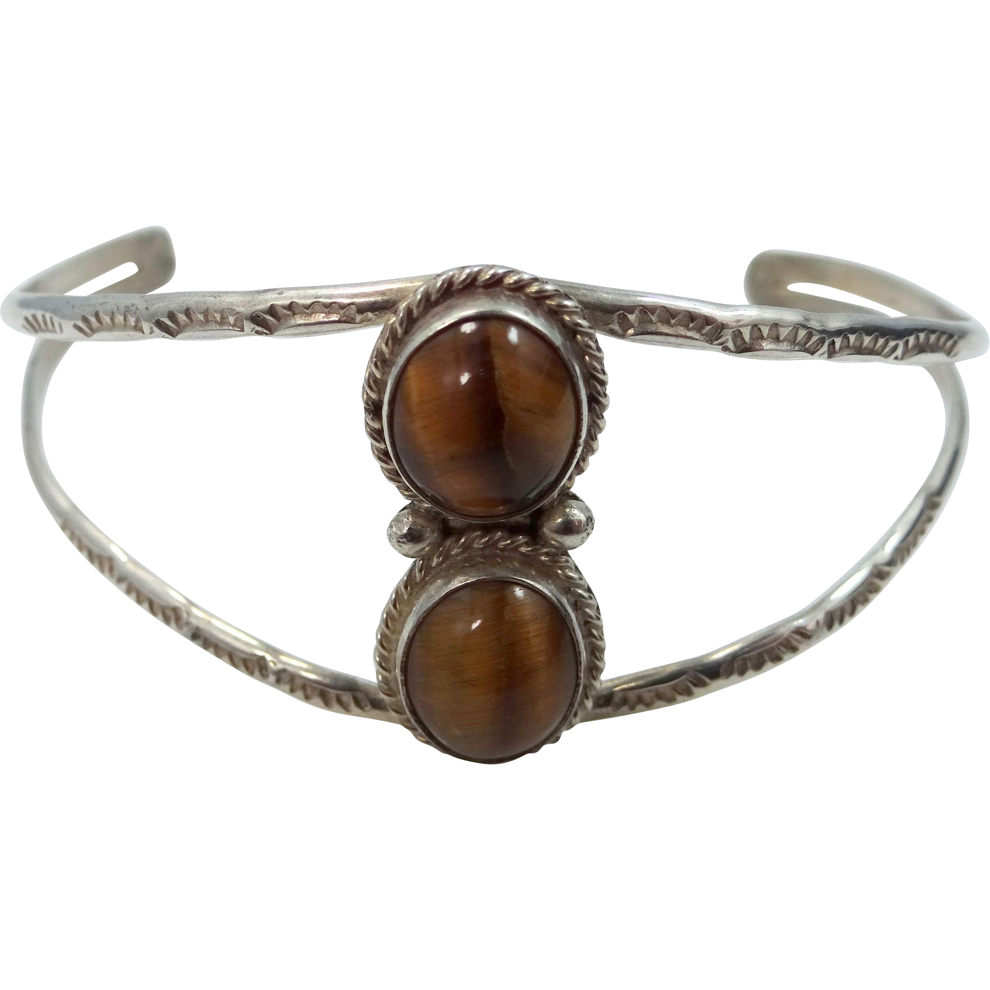 Robert Bencenti Navajo Sterling Silver and Tiger Eye Cuff Bracelet