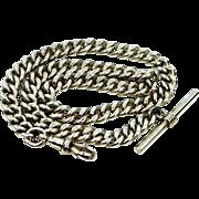 Antique Sterling Silver w/Lion Passant Albert Watch Chain
