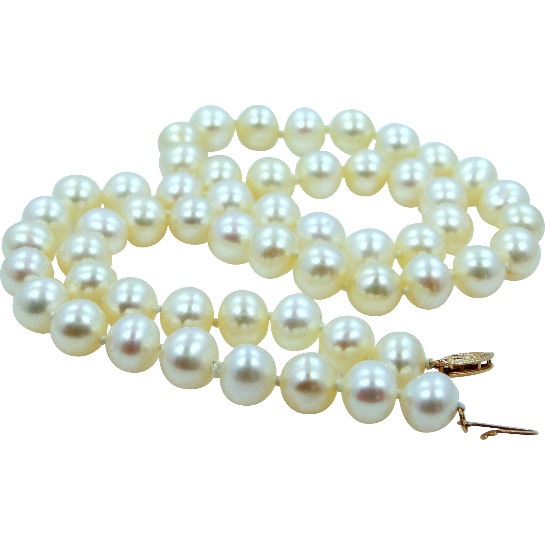 "18"" Hand Knotted Pearls Necklace with 14k Gold Clasp"