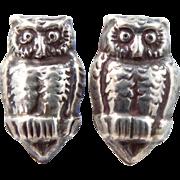 Mexico Silver Figural Owl Screw Back Earrings
