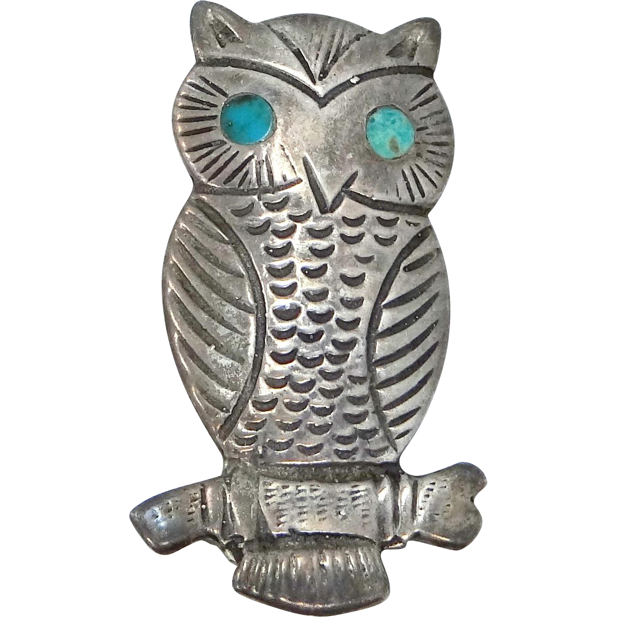 Vintage Solid Sterling and Turquoise Figural Owl Pin