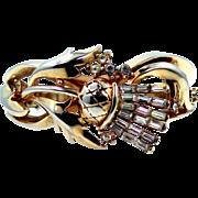 "Trifari ""Alfred Philippe"" Scottish Thistle Baguettes & Gold Tone Metal Bangle Bracelet Circa 1950"