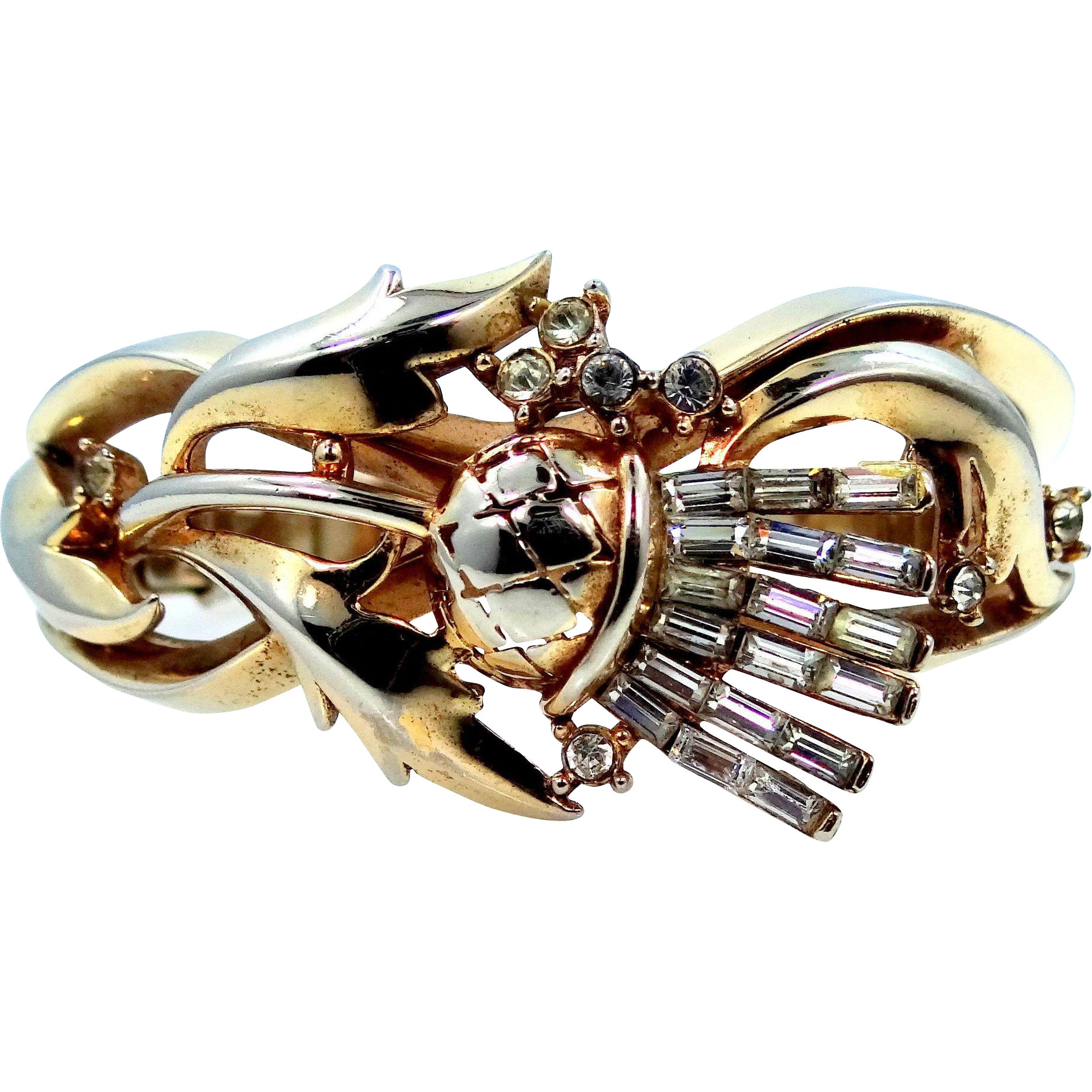 "Trifari ""Alfred Philippe"" Scottish Thistle Baguettes & Gold Tone Metal Bangle Bracelet Circa 1950"