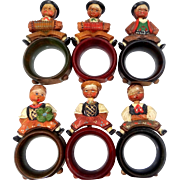 6 ANRI Carved Alpine Children Napkin Rings Moveable Heads