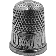 Vintage Sterling Silver Thimble With Engraved Houses