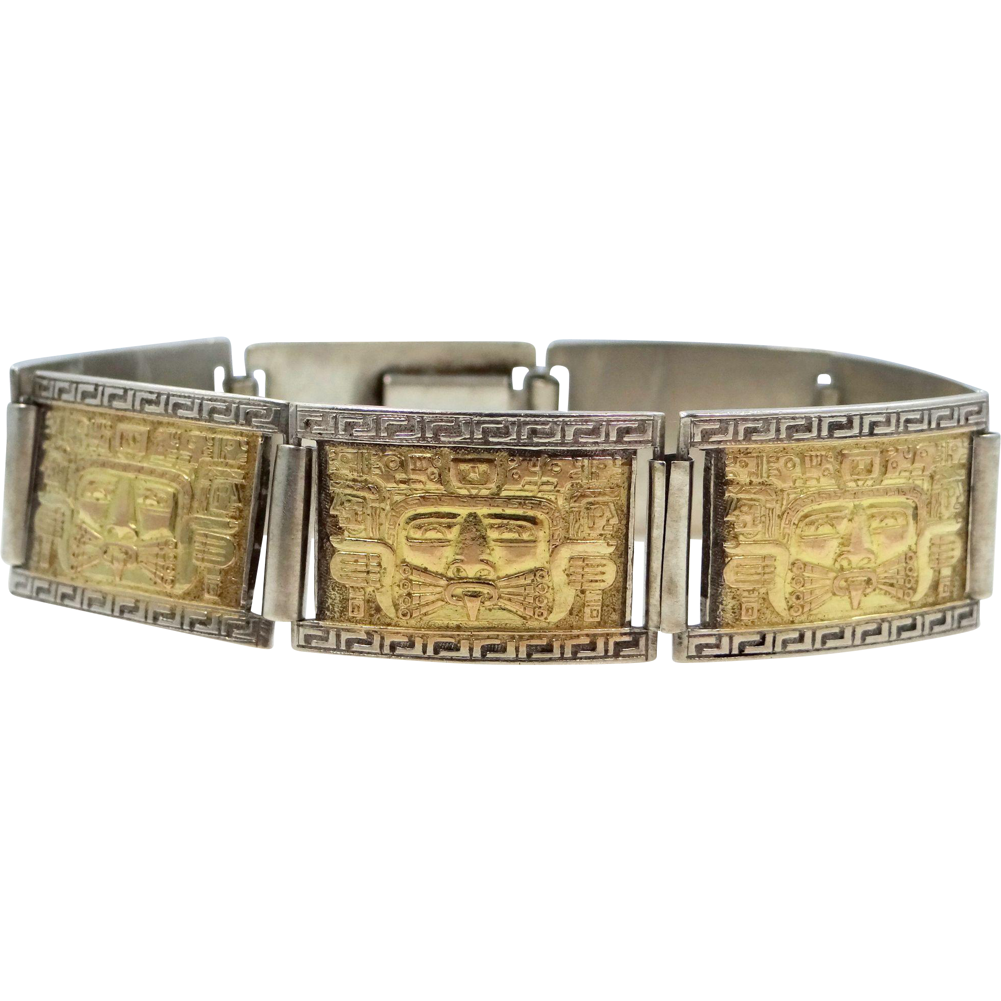 18k Gold and 900 Silver Mayan Face Links Bracelet