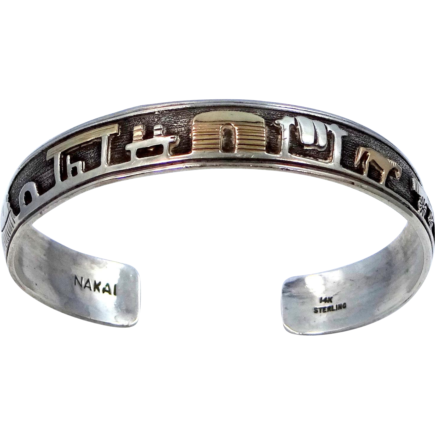 14k Gold and Sterling Silver Nakai Storyteller Navajo Cuff Bracelet