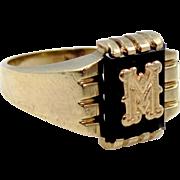 """10k Gold Black Onyx Man's Circa 1930's Initial Ring """"M"""""""