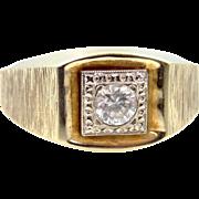 10k Yellow & White Gold Man's Size 9 1/2 Vintage Ring