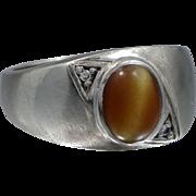 10k White Gold Tiger Eye and Diamonds Man's Size 10 Ring