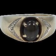 Man's 10k Gold Black Star Sapphire Size 10 Ring