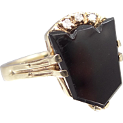 10k Gold Keystone Shape Black Onyx & Diamonds Lady's Ring Cadillac Emblem