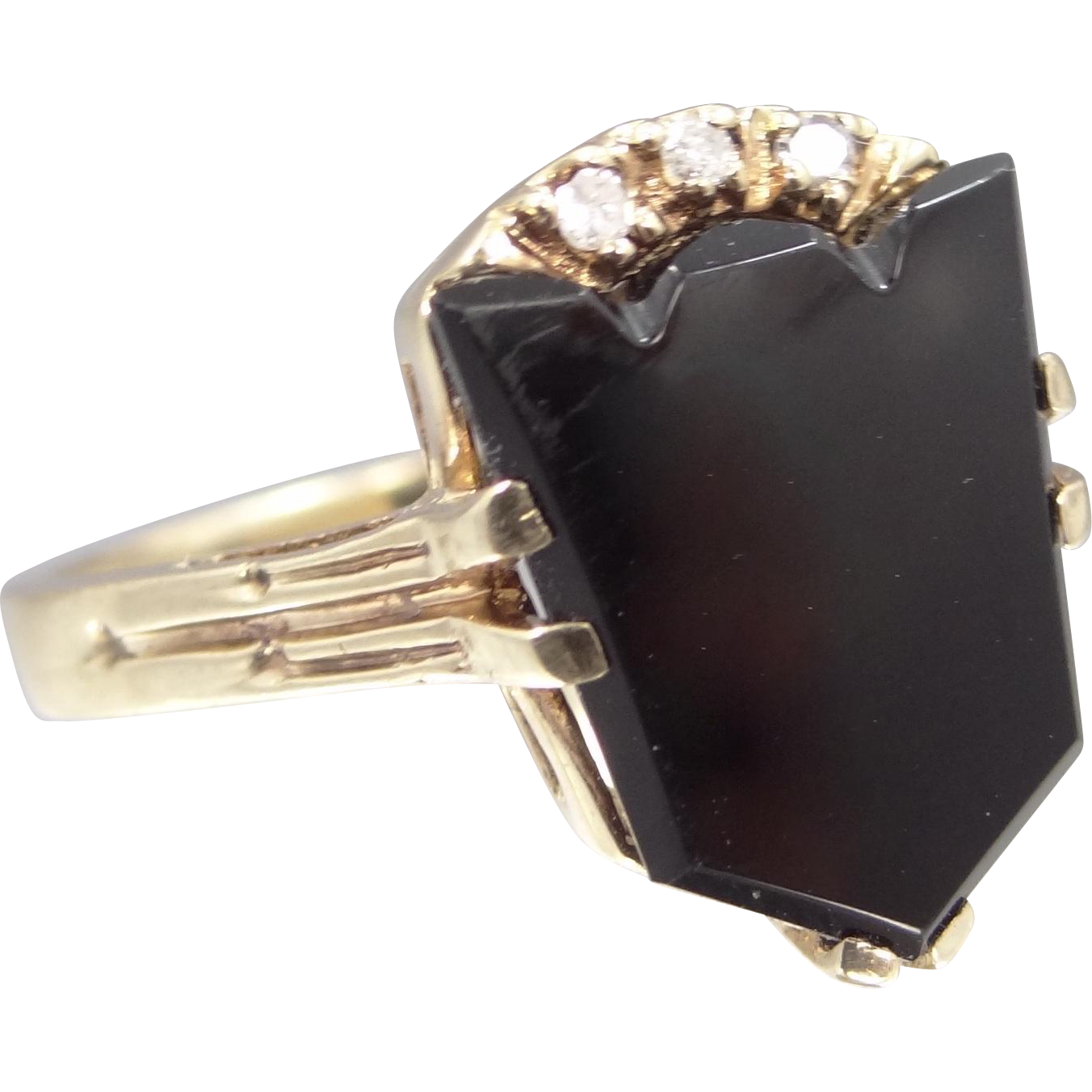 10k Gold Keystone Shape Black Onyx & Diamonds Lady's Ring Cadillac Emblem