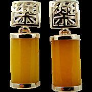 14k Gold Lemon Yellow Jade Pierced Dangle Earrings