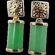 14k Gold Green Jade Pierced Dangle Earrings