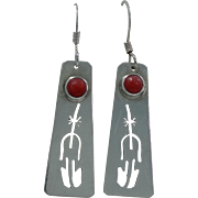 Southwestern Artist Signed Sterling Silver and Coral Dangle Earrings