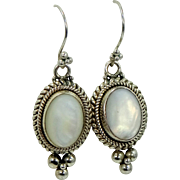 Large Balinese Sterling Silver and Mother of Pearl Dangle Earrings