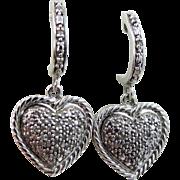 Sterling Silver and Diamonds Heart Dangle Pierced Earrings