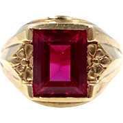 Dason 10k Gold & Synthetic Ruby Man's Size 8 3/4 Ring