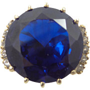 14k Gold Iolite and White Sapphires Lady's Ring