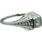 Art Deco 14k White Gold and Diamond Lady's Finely Etched Ring