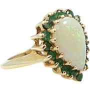 14k Gold Pear Shaped Natural 3 Carat Opal and Emeralds Lady's Ring