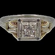 14k White & Yellow Gold Filigree Diamond Ring Circa 1930's