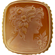 18k Gold Italy Carved Shell Cameo Pin / Pendant
