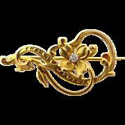 Pretty Art Nouveau 14k Gold and Diamond Floral Pin