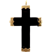 10k Gold and Fine Jet Victorian Cross Pin / Pendant
