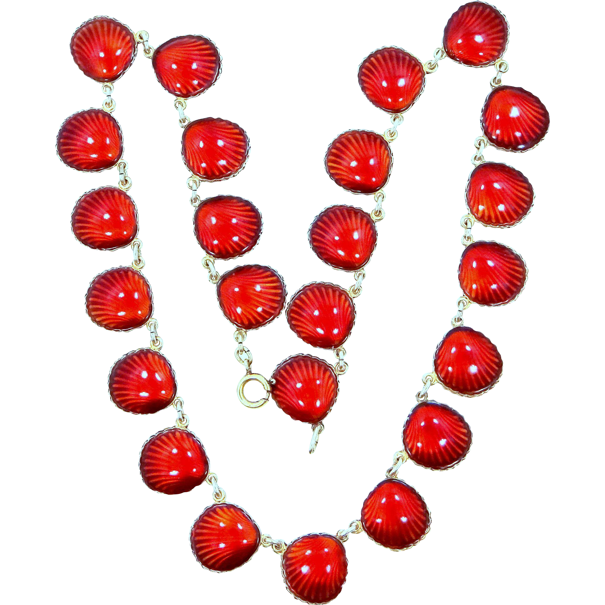 Nils Elvik & Co. Norway Sterling Silver Vermeil & Red Enamel Shell Pattern Necklace