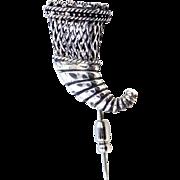 Nice Balinese Sterling Figural Cornucopia Stick Pin Brooch