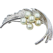 Early SIGNED Mikimoto Sterling Silver & Pearls Pin