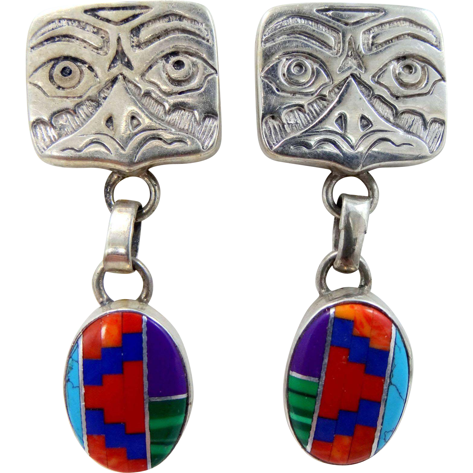 OWL Sterling Silver Inlaid Coral & Turquoise Carroll Felley Dangle Earrings