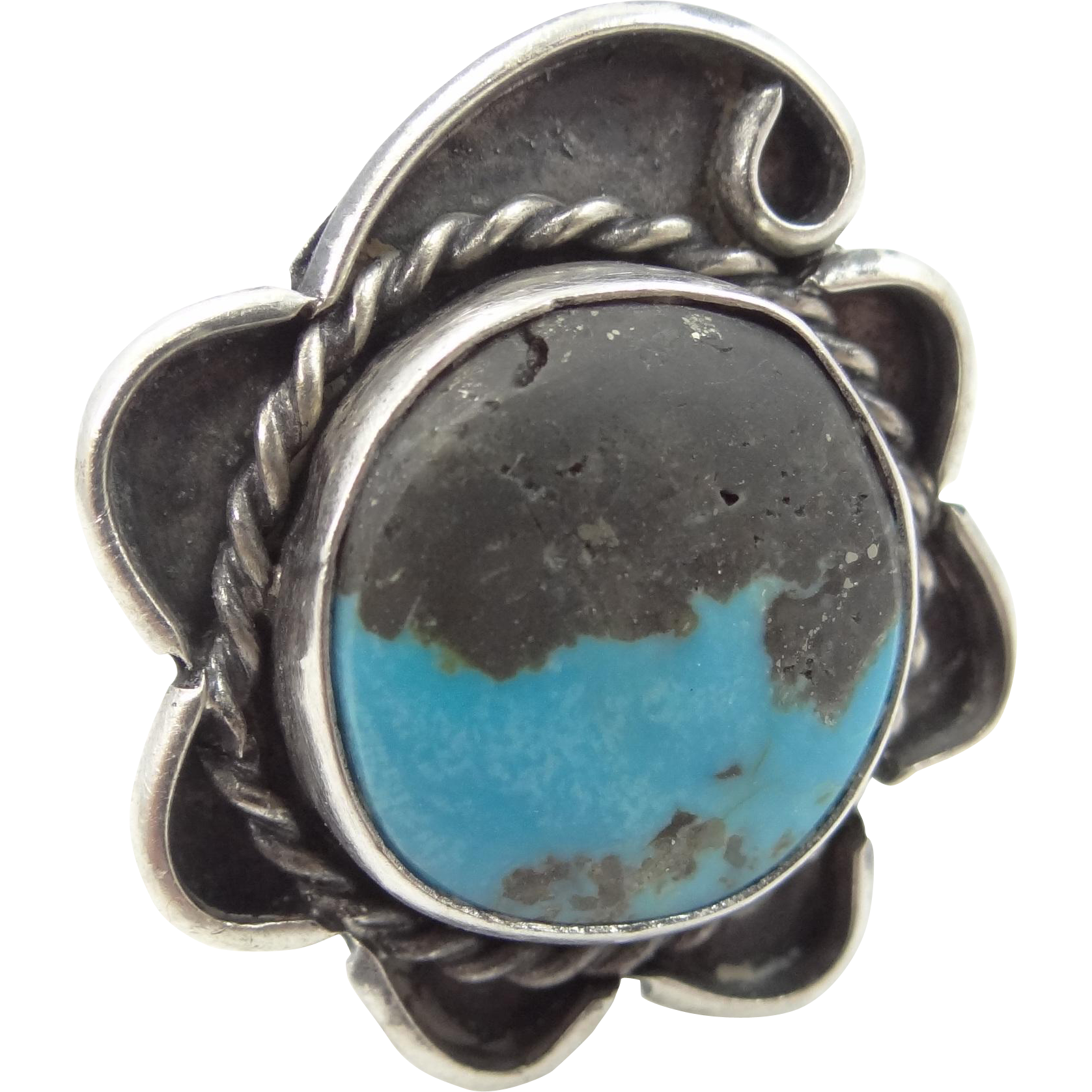 Large Sterling Silver Turquoise Southwestern Lady's Ring