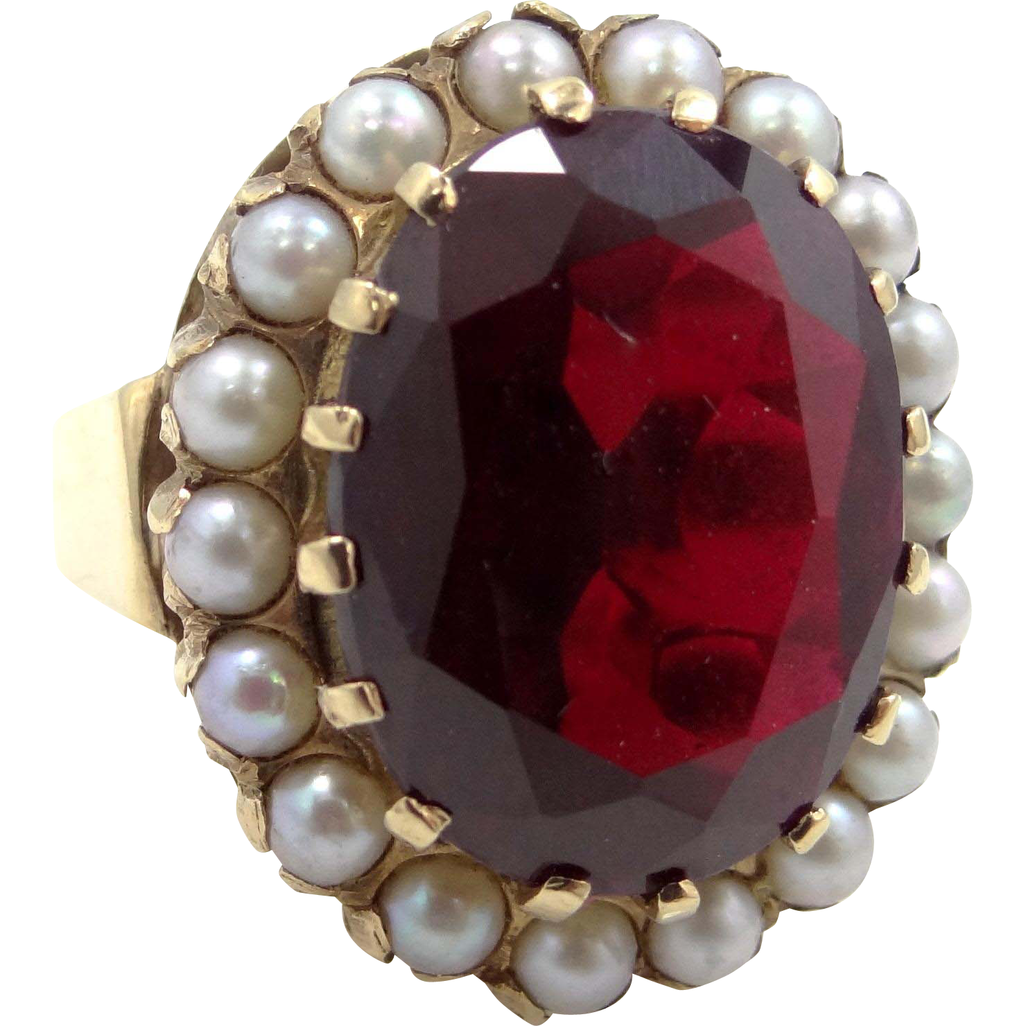 14k Gold Synthetic Ruby & Seed Pearls Victorian Revival Ring