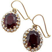 Beautiful 14k Gold Synthetic Ruby and Seed Pearls Victorian Style Dangle Pierced Earrings