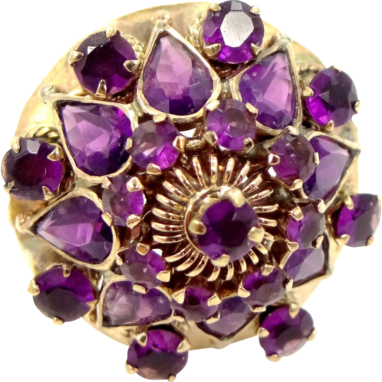 14k Gold Thai Princess Amethyst Ring Circa 1940s