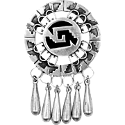 1940's Mexico Sterling Silver Dangles Pin