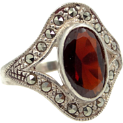 Pretty Vintage Sterling Silver Garnet and Marcasites Lady's Ring