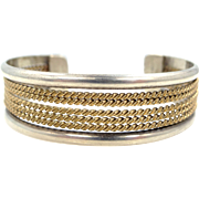 Navajo Robert Johnson Sterling and Gold Fld. Cuff Bracelet Full Signature