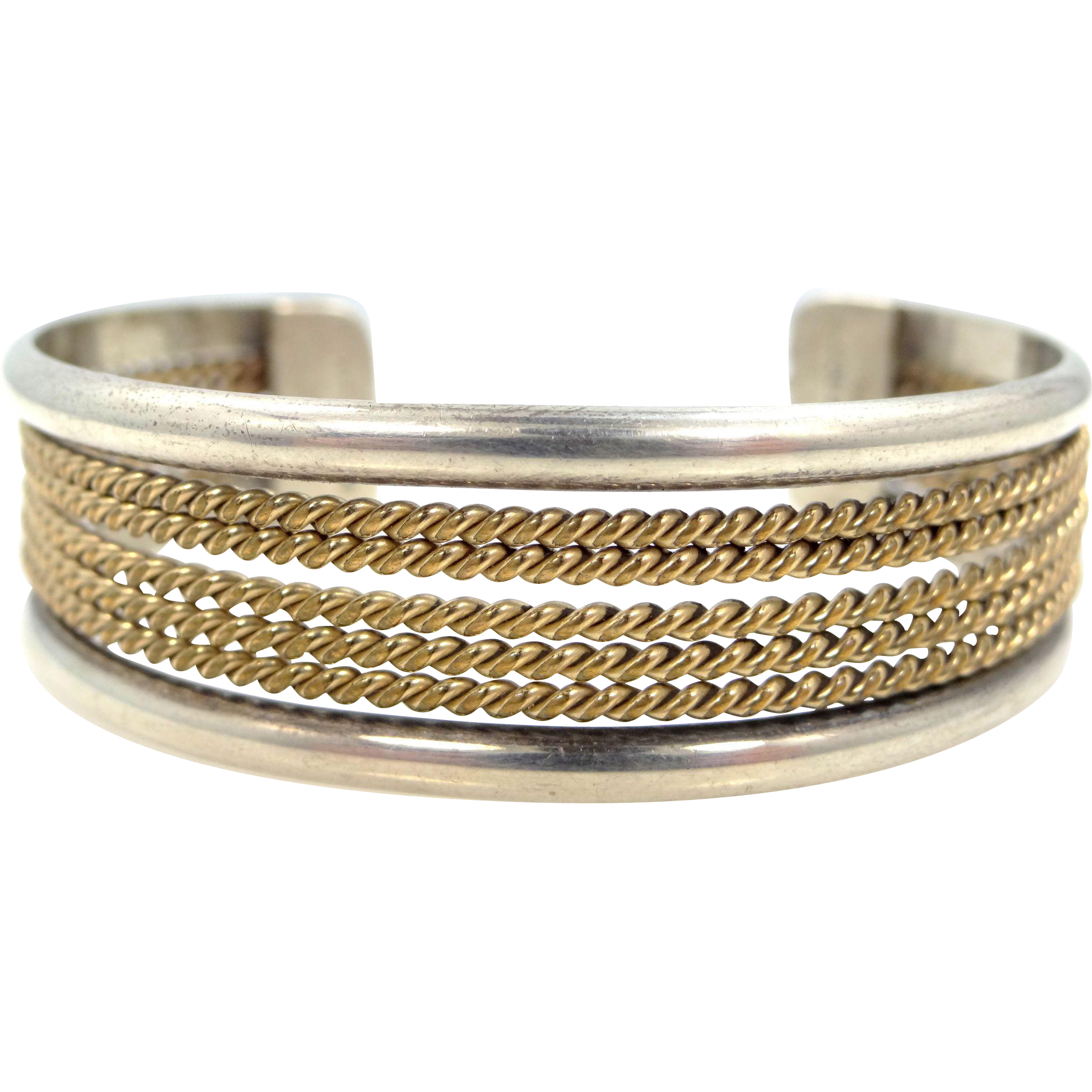 Navajo Robert Johnson Sterling and Gold Fld. Cuff Bracelet Full Signature