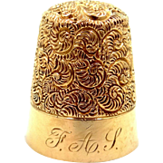 14k Gold Carter, Gough Antique Repousse Thimble