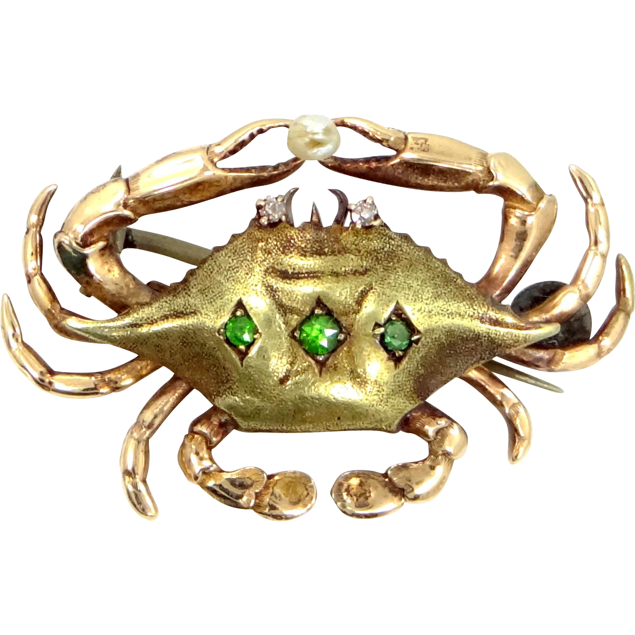 Victorian Crab Pin 14k Green and Rose Gold Diamonds, Emeralds & Pearl