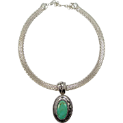 Relios Carolyn Pollack HUGE Sterling Silver and Turquoise Necklace