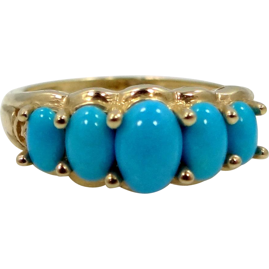 Vintage 10k Gold and Turquoise Lady's Size 8 1/2 Ring