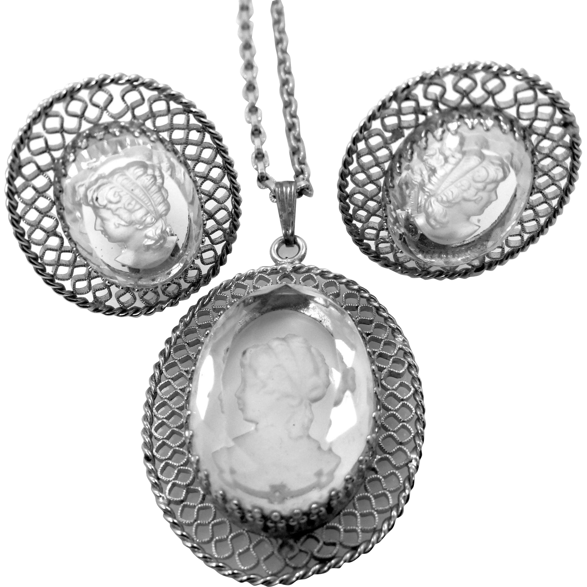 Whiting Davis Backcarved Cameo Filigree Necklace & Earrings
